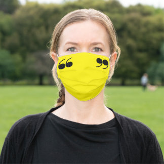 Quotation Marks on Yellow Adult Cloth Face Mask