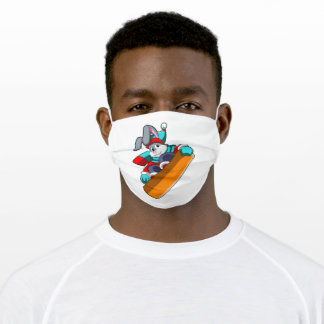 Rabbit at Snowboarding with Snowboard Adult Cloth Face Mask