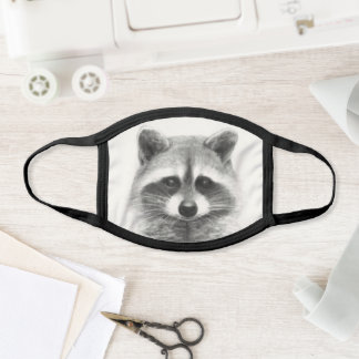 Raccoon Pencil Drawing Face Mask