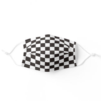 Racing Sports Fan Checkered Flag Black White Adult Cloth Face Mask