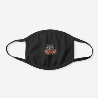 Racoon Embroidery Black Cotton Face Mask