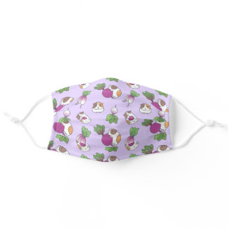 radish and guinea pig pattern in purple adult cloth face mask