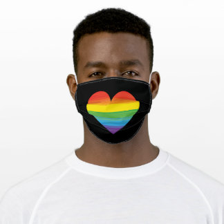 Rainbow and heart LGBT Pride Adult Cloth Face Mask
