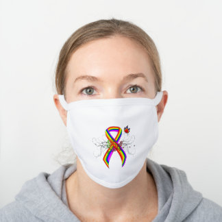Rainbow Awareness Ribbon with Butterfly White Cotton Face Mask
