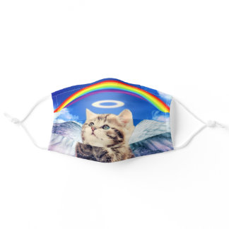 rainbow cat - cat praying - cat - cute cats adult cloth face mask