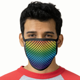 Rainbow Flag Colors Dots Gay Design GLBTQ Face Mask