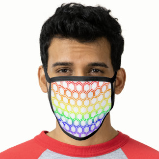 Rainbow Flag Colors Gay Design Honeycomb GLBTQ Face Mask