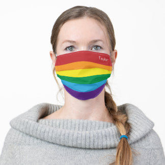 Rainbow Flag Red Orange Yellow Green Blue Monogram Adult Cloth Face Mask