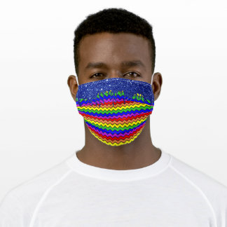 Rainbow Fun Chevron Stripes Glitter Drips Adult Cloth Face Mask