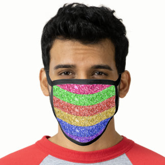 Rainbow Glitter Look Stripes Face Mask