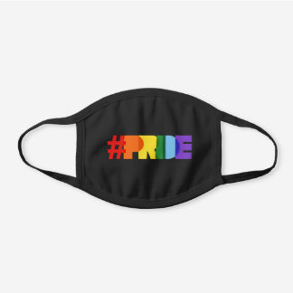 Rainbow Hashtag Pride Black Cotton Face Mask