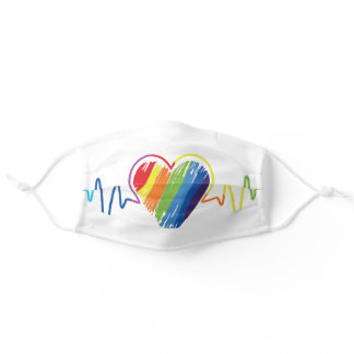 Rainbow Heartbeat | Artistic Abstract Gay Pride Ta Adult Cloth Face Mask