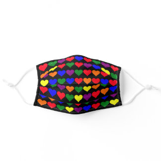 Rainbow Hearts Pattern on Black Adult Cloth Face Mask