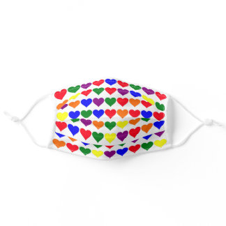 Rainbow Hearts Pattern on White Adult Cloth Face Mask