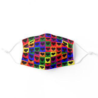 Rainbow Hearts Pattern Pride Colors Adult Cloth Face Mask