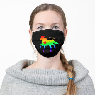 Rainbow Horse Running & Heart /London & Pride Adult Cloth Face Mask