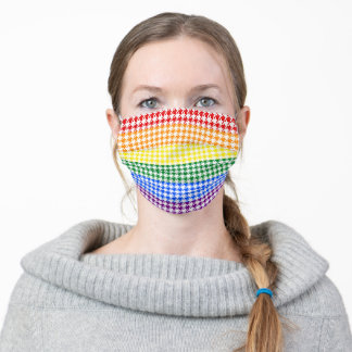 Rainbow Houndstooth Adult Cloth Face Mask