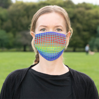 Rainbow Polkadots on Light Teal ( or Your Color) Adult Cloth Face Mask