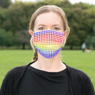 Rainbow Polkadots on White ( or Your Color) Adult Cloth Face Mask