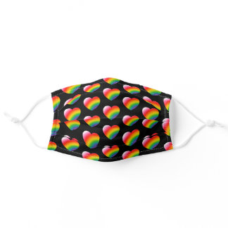 Rainbow Pride Gradient Hearts Pattern Adult Cloth Face Mask