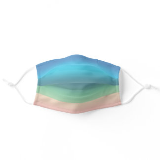 Rainbow Seashore Beach in Gradient Stripes Adult Cloth Face Mask
