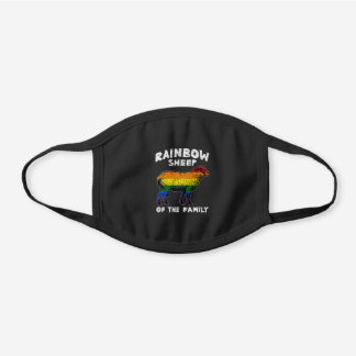 Rainbow Sheep of the Family Black Cotton Face Mask