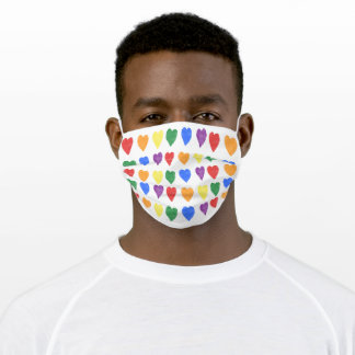 Rainbow Watercolor Hearts Pattern Adult Cloth Face Mask