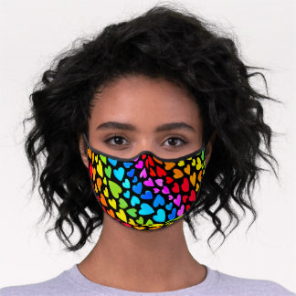 Rainbow Watercolor Hearts Pattern Premium Face Mask