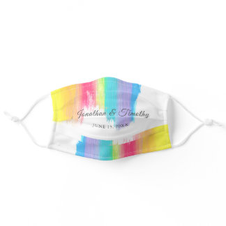 Rainbow Watercolor LGBTQ Bridal Party Wedding Adult Cloth Face Mask