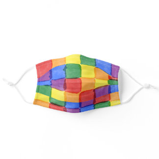 Rainbow Watercolor Squares Pattern Adult Cloth Face Mask