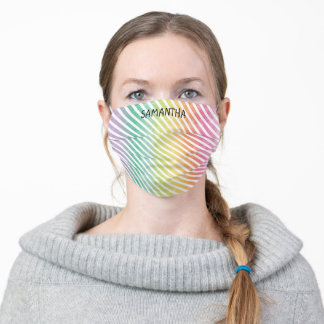 Rainbow Watercolor Stripe Personalize Name Saying Adult Cloth Face Mask