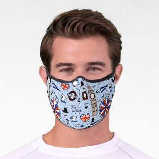 Rainy Day London Icons Blue Pattern Premium Face Mask