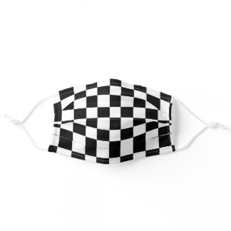 Random Sized Checkers White Adult Cloth Face Mask