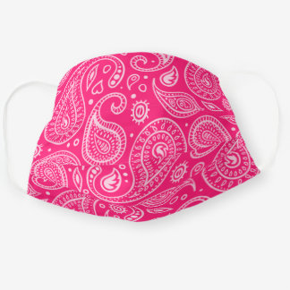 Raspberry Red And White Paisley Pattern Cloth Face Mask