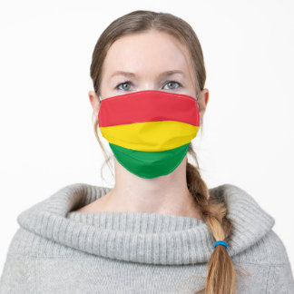 Rasta Colors Red Yellow Green Stripes Pattern Adult Cloth Face Mask