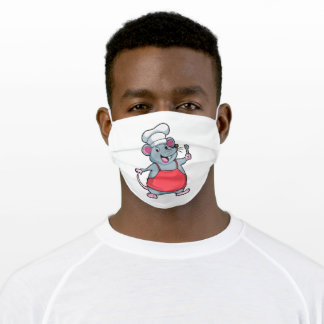 Rat as Chef with Cooking apron & Spoon Adult Cloth Face Mask