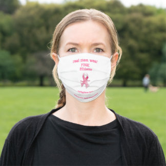Real men wear pink ribbons  adult cloth face mask
