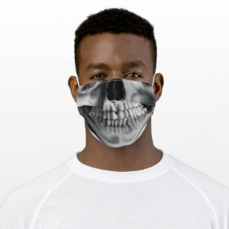 Realistic human skull teeth and nose adult cloth face mask