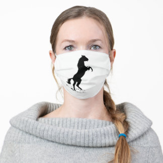 Rearing Horse Silhouette Adult Cloth Face Mask