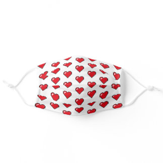 Red 8-Bit Pixel Heart Adult Cloth Face Mask