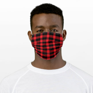Red And Black Double Striped Buffalo Plaid Adult Cloth Face Mask