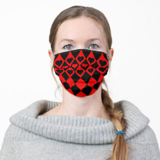 Red and Black Harlequin With Hearts Adult Cloth Face Mask