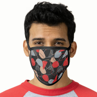 Red and Gray Abstract Memphis Pattern Face Mask