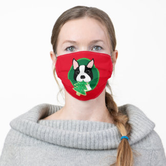 Red and Green Boston Terrier Christmas Face Mask
