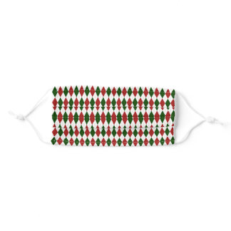 Red and Green Harlequin Diamond Argyle Pattern Adult Cloth Face Mask