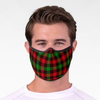 Red And Green Plaid Premium Face Mask