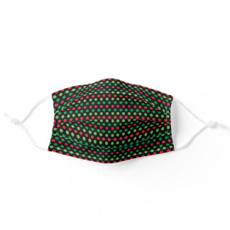 Red And Green Polka Dots On Black Adult Cloth Face Mask