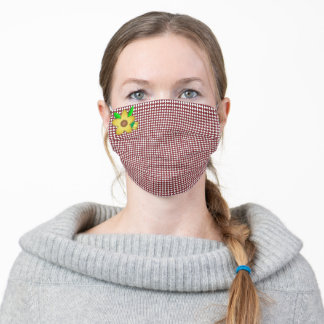Red and White Gingham With Flower Adult Cloth Face Mask