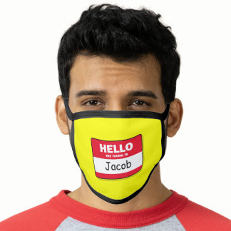 Red and White Hello My Name Is Faux Sticker Face Mask