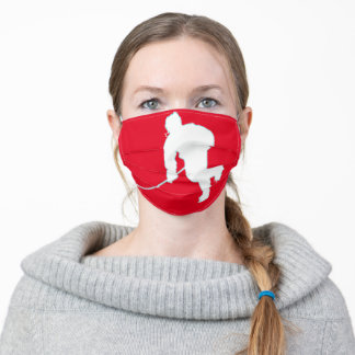 RED AND WHITE HOCKEY ADULT CLOTH FACE MASK